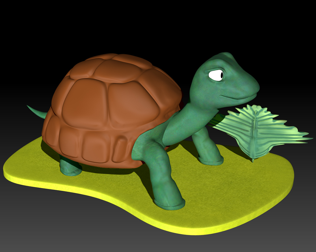 Turtle 3D on a Island Pedestal